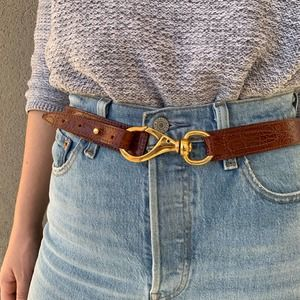 Vintage Marshall Fields Leather Belt Gold Hardware